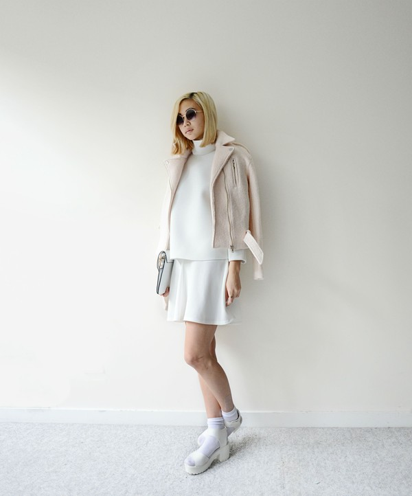 ordinary people sweater sunglasses skirt jacket shoes