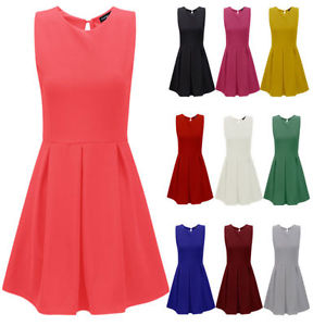 Ladies Tailored Flared Pleated Skater Dress Womens Mini Party Skirt Sizes 8 14 | eBay