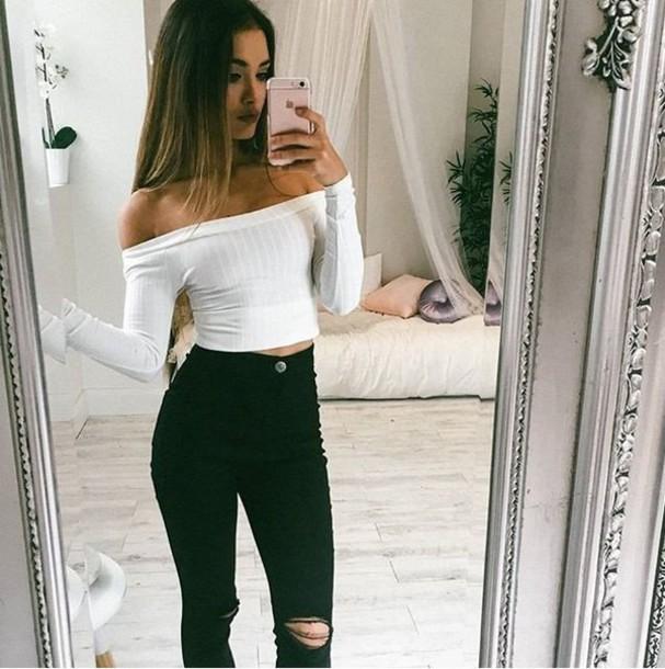 Top girl girly girly wishlist white cute crop crop tops cropped tumblr instagram long ...