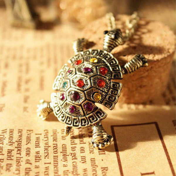 jewels necklace cute turtle colorful