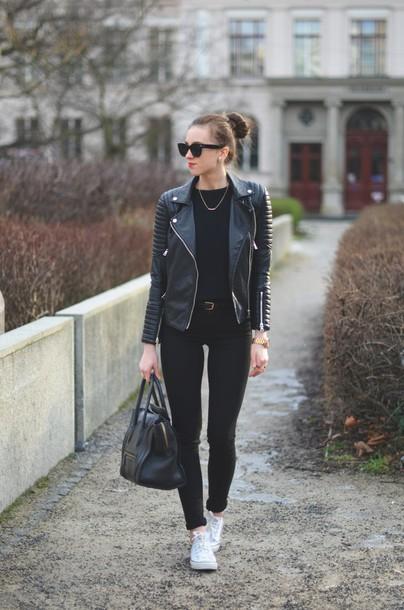 vogue haus blogger sweater sunglasses leather jacket handbag perfecto