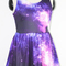 Purple galaxy print skater tank dress - sheinside.com