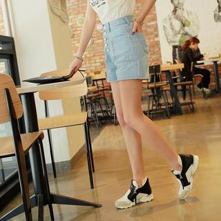 High-Waist Button Shorts - WITH IPUN | YESSTYLE