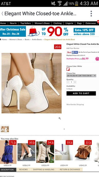 shoes white ankle boots