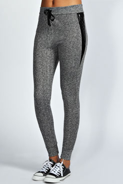 Lucia Grey Marl Quilted Leather Look Panel Joggers at boohoo.com