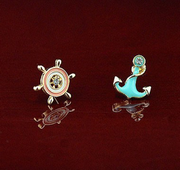 jewels earrings rudder cute