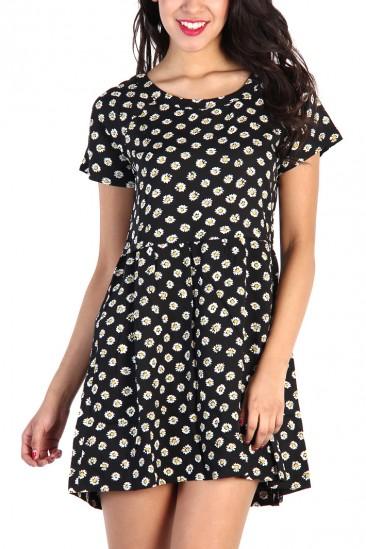 LoveMelrose.com From Harry & Molly | Daisy Print Dress - Black