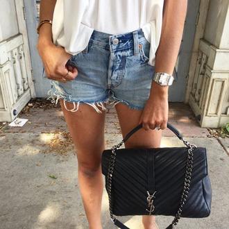 bag blue shorts denim shorts watch tumblr black dress ysl ysl bag handbag shorts