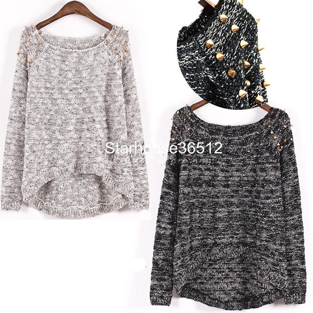 Asymmetric Jumper Sweater Top Oversized Embellished Spiked Studs Wide Scoop Neck | eBay