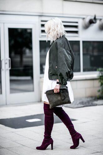 the courtney kerr blogger dress jacket shoes bag sunglasses jewels bomber jacket clutch thigh high boots purple shoes mini dress fall outfits white dress sud express stuart weitzman rayban
