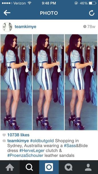 kim kardashian striped dress