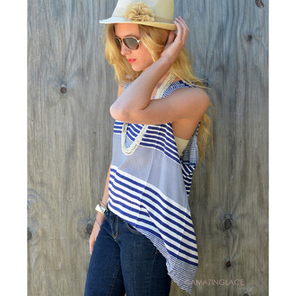 tank top piko tank striped top hi lo top spring outfits summer beach coastal blue and white blue and white striped