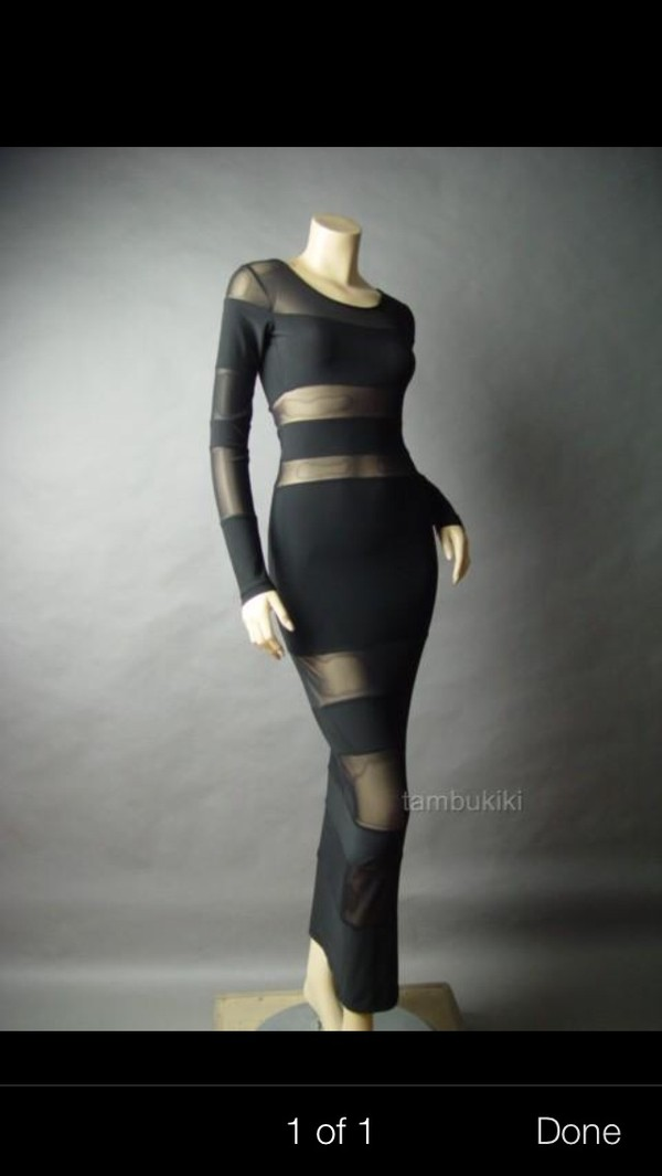 dress sheer maxi dress black maxi dress long sleeve nude lingerie diamonds jewels bra undies