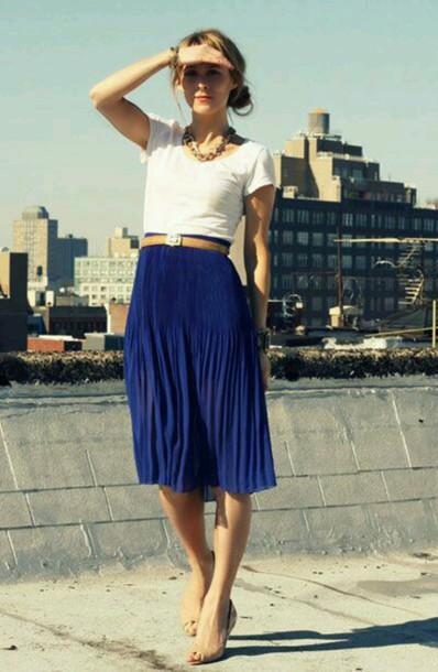 skirt blue skirt pleated skirt working girl classy skirt