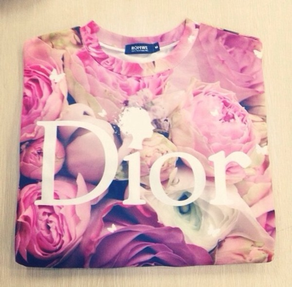 sweater romwe shirt flowers pink flowers pink sweater roses floral floral t shirt