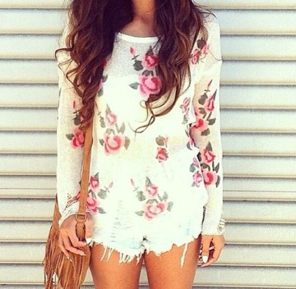 knitting floral t shirt flowered blouse