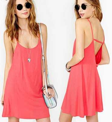 2014 New Fashion Summer Dress Women Brand Backless Neon Pink Novelty Dresses Plus Size High Street Slim Sexy A Line Casual Dress-in Dresses from Apparel & Accessories on Aliexpress.com