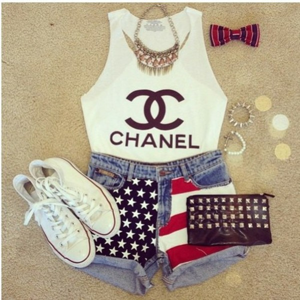 shorts shoes tank top jewels