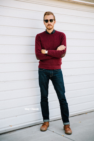 stay classic blogger jeans jewels sunglasses burgundy elbow patches menswear mens shoes