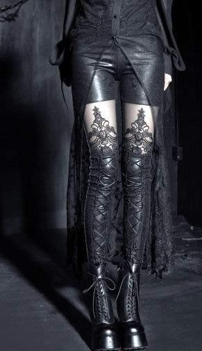 Punk Rave Macbeth Leggings, Black Gothic Embossed [K-144] - £28.99 :