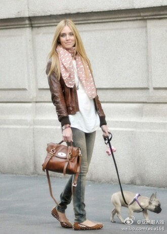 clothes bag dog scarf flats jeans brown leather jacket shoes
