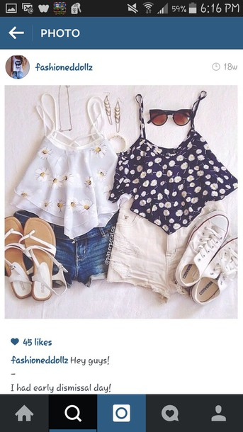 shorts white ripped shorts tank top shoes