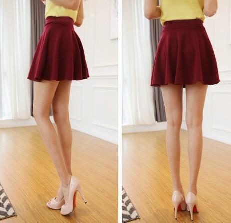 Sexy Beautiful Ladies Stretch Waist Plain Skater Flared Pleated Mini Skirt Dress | eBay