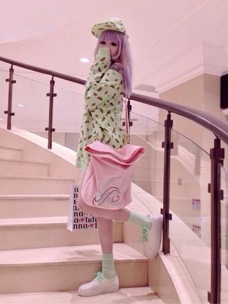 sweater mint cute petite pink pastel pink cute pastel top mint pink mint sweater pink bag purse lovely kawaii adorable sweet sweeter sweet lolita bag hat shoes
