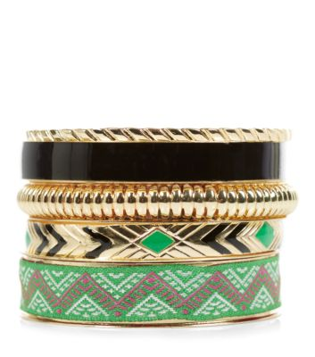 Green and Gold Aztec Print Bangles