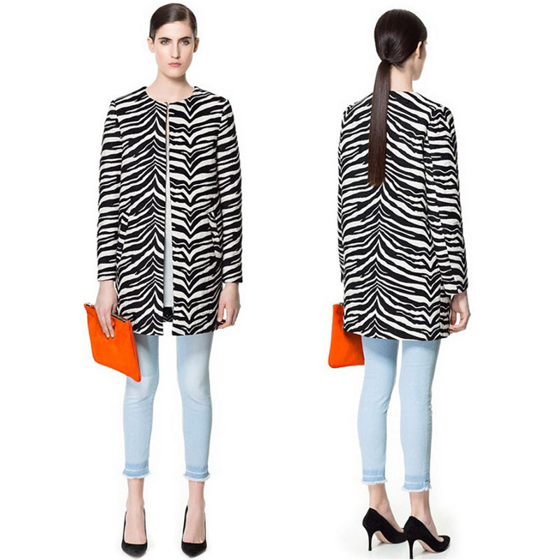 2013 winter new European and American high quality round neck long sleeved coat positioning zebra stripes  Wool & Blends -in Wool & Blends from Apparel & Accessories on Aliexpress.com