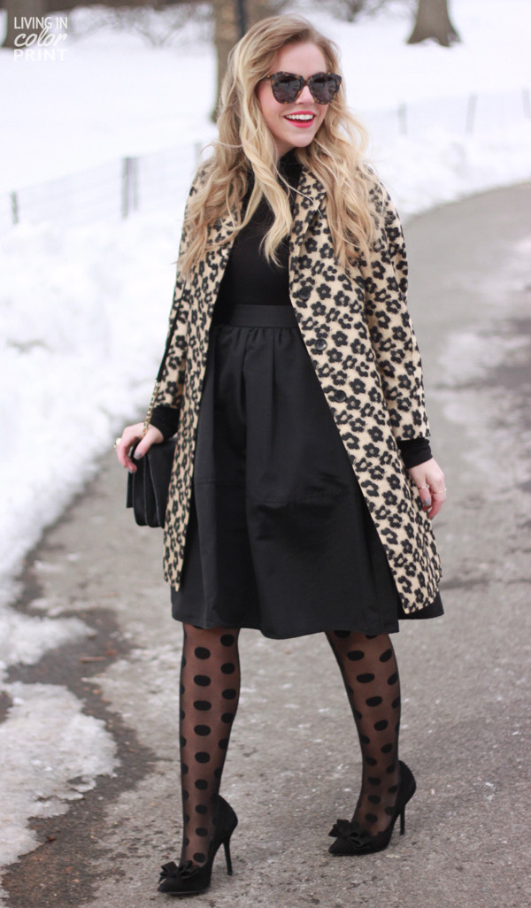 living in color print skirt shoes coat jewels bag sunglasses