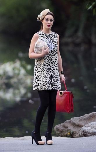 dress blair waldorf gossip girl leighton meester animal print red bag