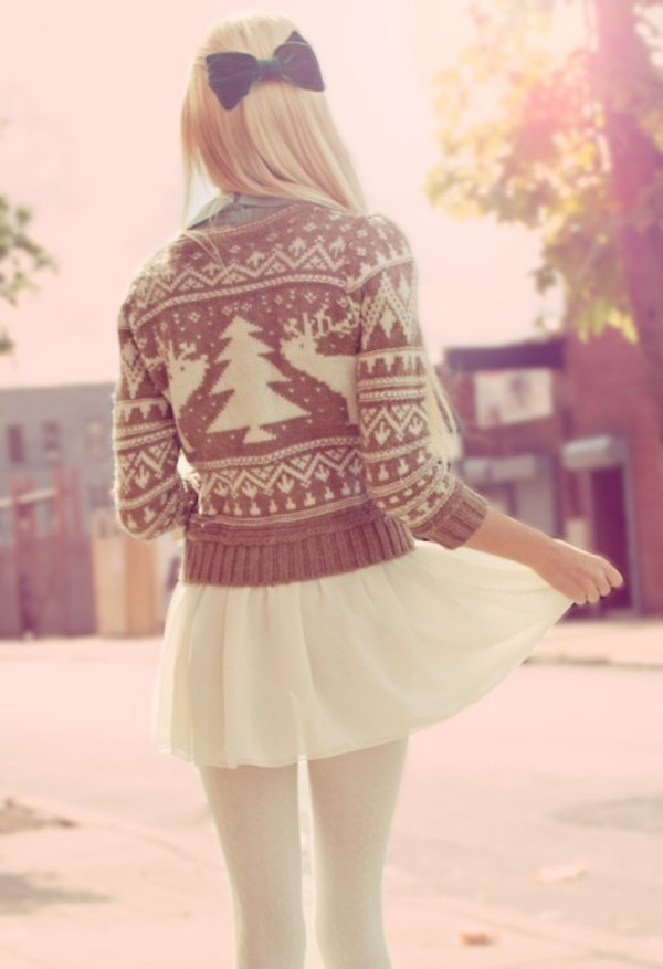 skirt winter outfits light brown deer tights cream
