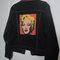Marilyn monroe andy warhol black denim jacket with hot pink trim.