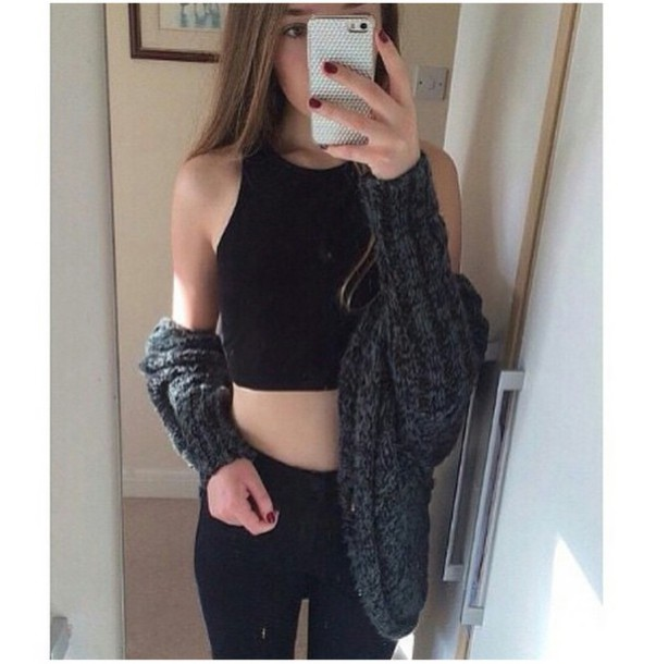 cardigan sweater popular sweater outfit idea fashion inspo fashion inspo halter top black halter top black halter neck top high waisted jeans grunge tumblr outfit tumblr girl phone cover phone cover phone cover phone case iphone 5s selfie on point clothing trendy trendy trendy trendy stylish style style blogger