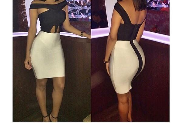 dress black and white bandage dress summer dress dressy