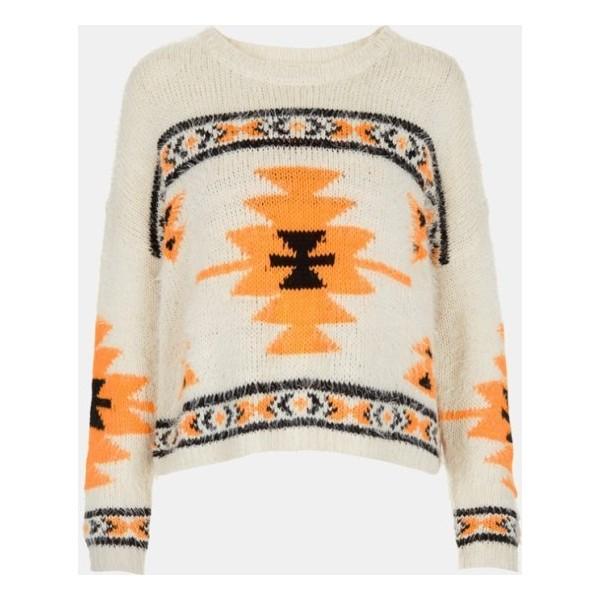 Topshop Geometric Print Sweater Cream 6 - Polyvore