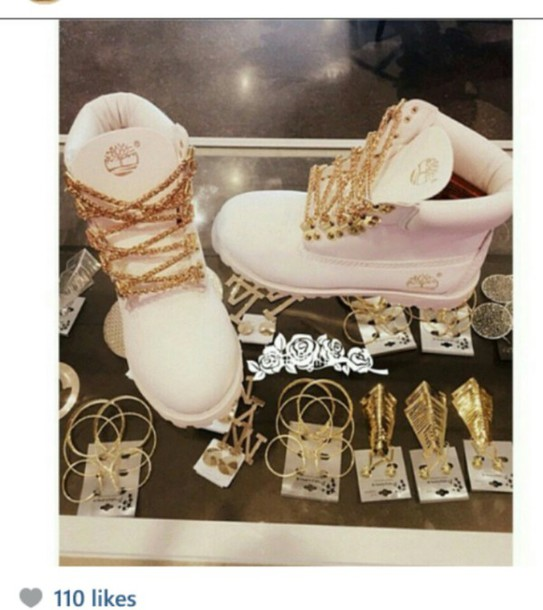 shoes timberlands boots gold chain