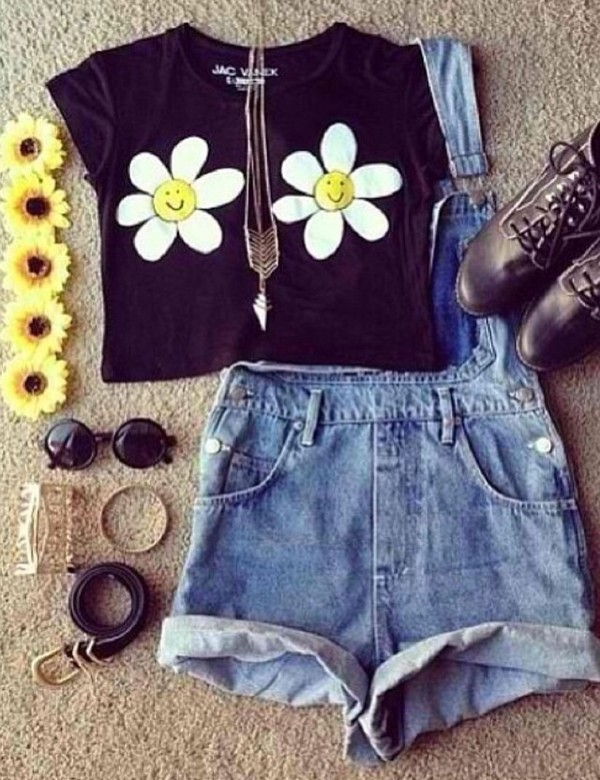 shirt sunglasses flowers summer daisy jeans shoes tank top jewels