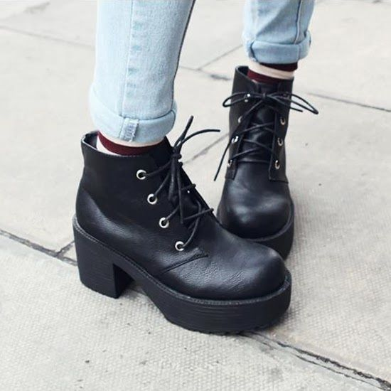 Women's Round Toe Platform Block Mid Heel Low Fashion Ankle Boots Shoes Lace Up | eBay
