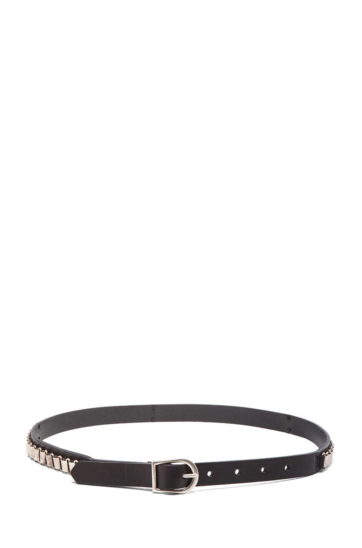 Isabel Marant|Memphis Calfskin Leather Belt in Black & Silver