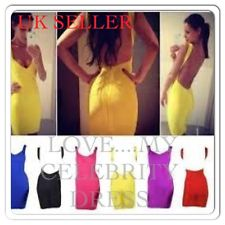UK Seller Sexy Celebrity Yellow Coral White Black Backless Bandage Bodycon Dress | eBay
