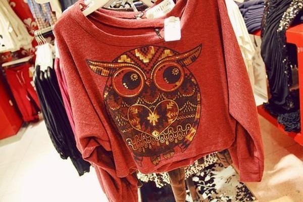 sweater jumper red owl sweatshirt