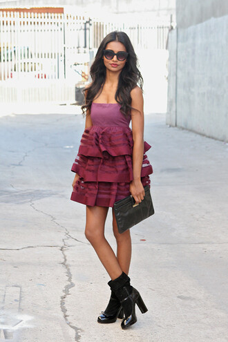 tuolomee blogger dress sunglasses ruffle pouch bustier dress shoes bag black pouch