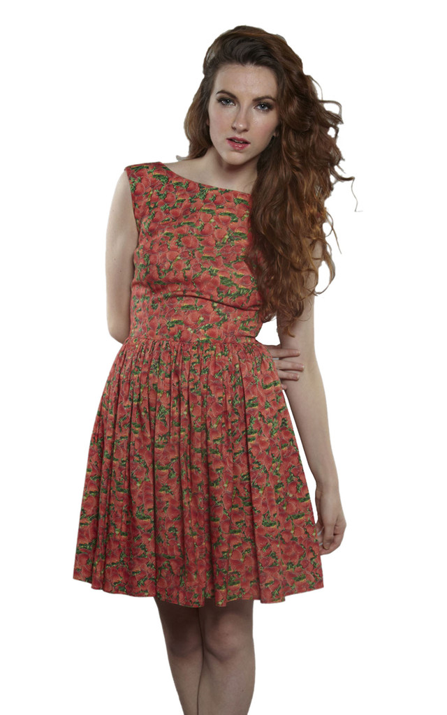 Full Skirt Dress in Strawberry Print