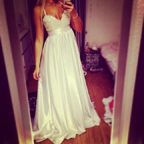 dress white dress beaded dress prom dress long prom dress white prom dress