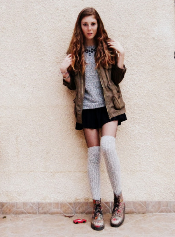 freckles and fashion jacket sweater shoes DrMartens