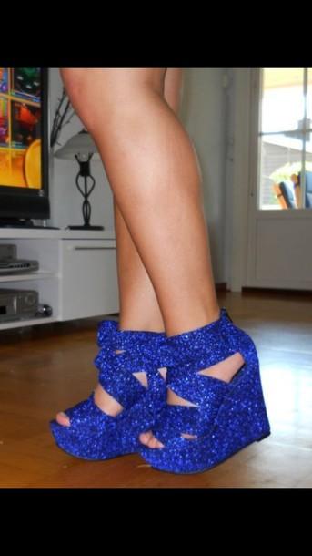 shoes wegdes glitter heels shoes blue glittery blue heels blue wedges
