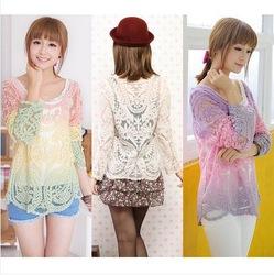 Online Shop Womens Gradient Colors Sheer Embroidery Floral Lace Crochet T-Shirt Top Blouse|Aliexpress Mobile