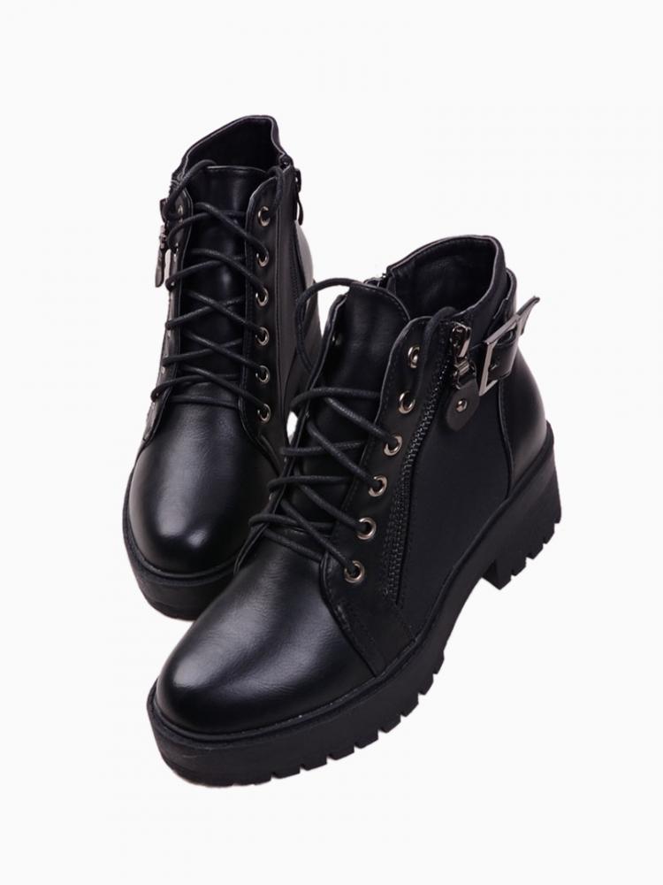 Black Platform Lace Up Ankle Boots | Choies